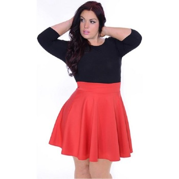 516543c7df F20347A Hot sale plus size western dresses three quarter sleeve black red  contrast color expansion skirt
