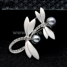 New arrival fashion jewelry dress accessories lovely pin pearl dragonfly brooch