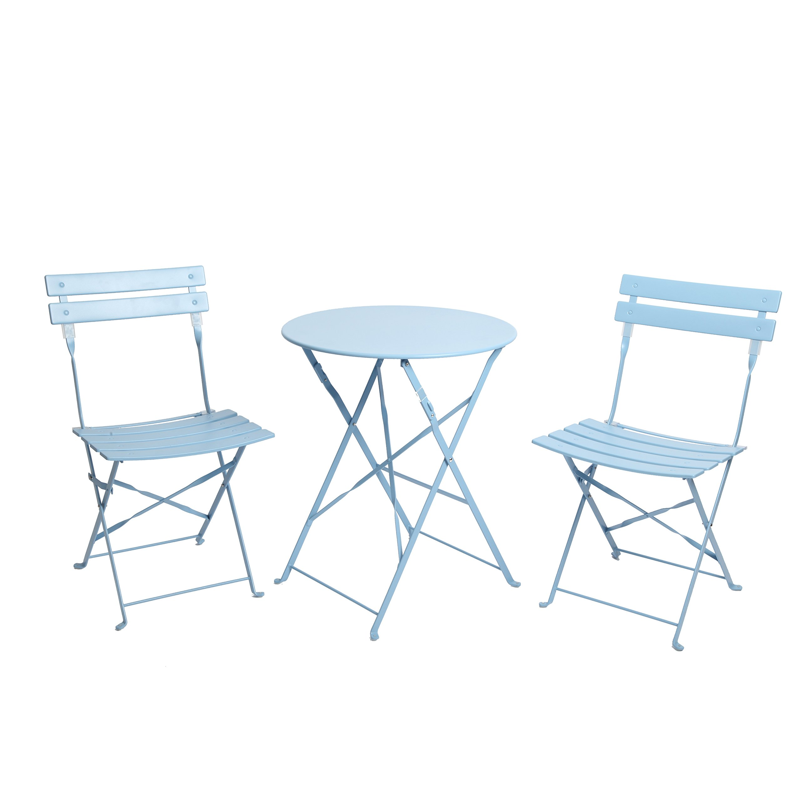 Get Quotations · Finnhomy 3 Piece Outdoor Patio Furniture Sets, Outdoor Bistro  Sets, Steel Folding Table And