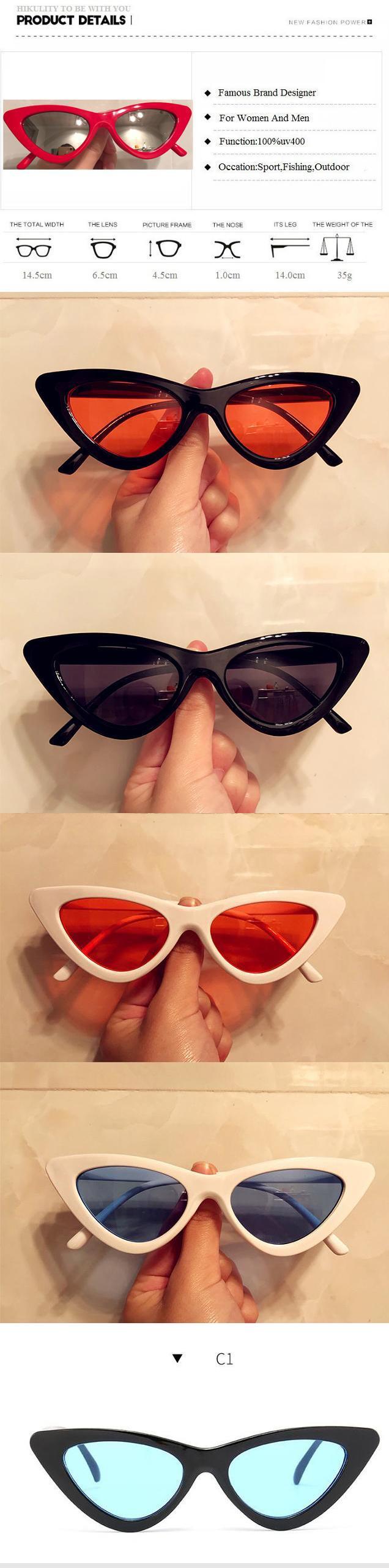 801e199e97 Small Cat Eye Sunglasses Women 2018 New Luxury Brand Red White Frame Sexy  Eyewear Ladies Candy