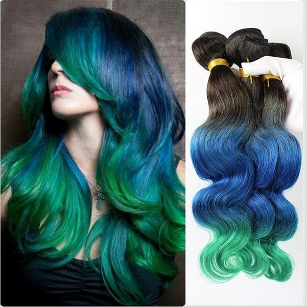 Buy New Arrival Green Ombre Hair Extensions 4 Bundles Brazilian