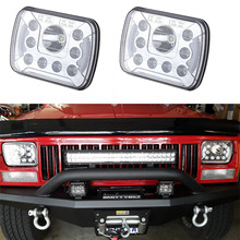 Offroad Front Headlamp with DRL 5x7 square headlight bulb 6x7inch rectangular led truck light kit for Jeep Cherokee XJ