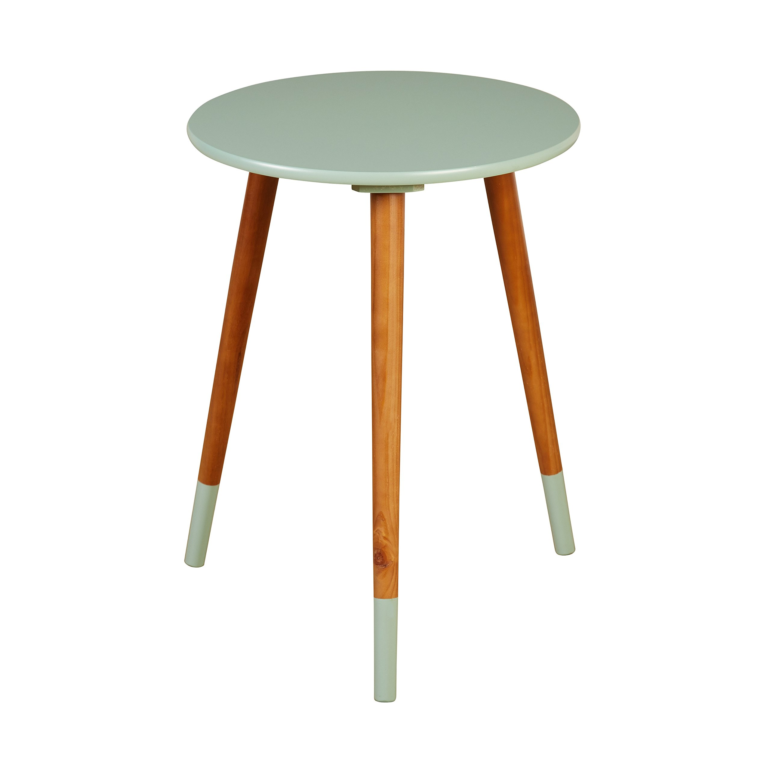 Target Marketing Systems Livia Collection Ultra Modern Round End Table With Splayed Leg Finish, Mint/Wood