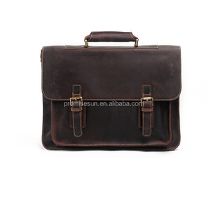 Hot-selling cowhide crazy horse skin handbag with single shoulder slant across briefcase genuine leather men business bag