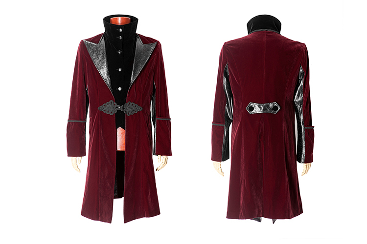 Y-377 Gothic Style Red Men Duster Korea Fashion Long Coat Model ...