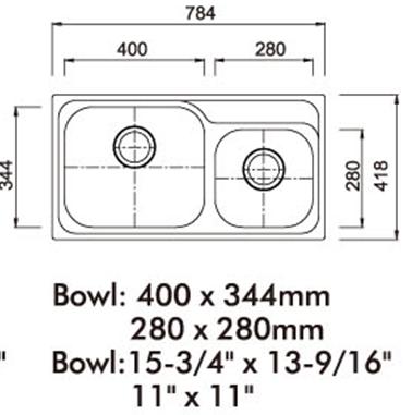 Cocina doble fregadero dimensiones fregaderos de acero for Dimensiones fregadero