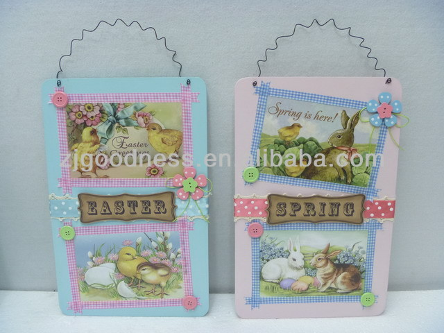 Hot Sale Spring/Easter Wooden Wall Plaque- Bunny & Chick