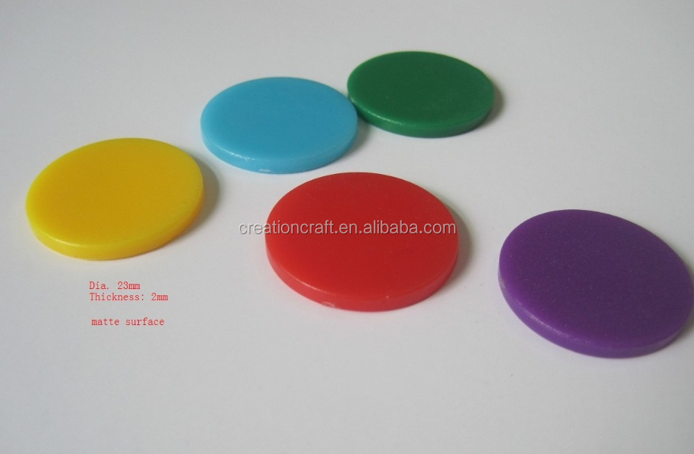 Customize logo round plastic game counters - CCPS410 (dia.23mm, thickness 2mm)