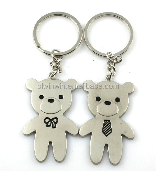 high quality metal sweet lovers keychain key ring