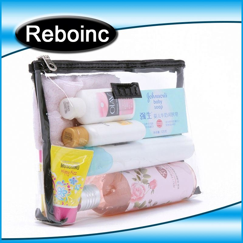 PVC transparent handing cosmetic bag with button closure