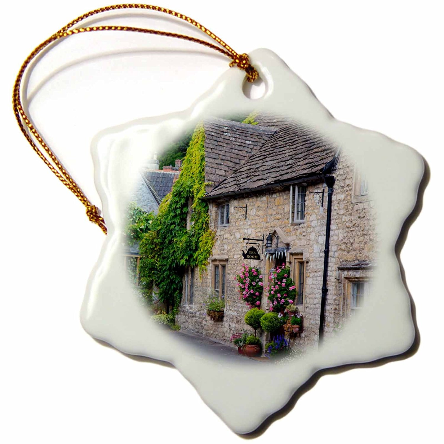 Danita Delimont - Houses - High Street, Castle Combe, the Cotswolds, Wiltshire, England - 3 inch Snowflake Porcelain Ornament (orn_228052_1)
