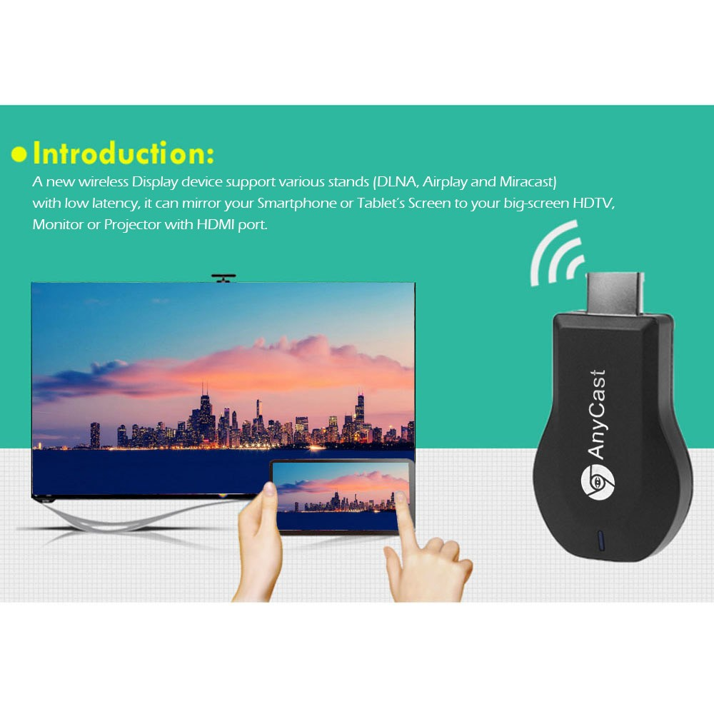 Anycast WiFi DLNA Airplay Miracast Dongle Dispositivo di Streaming On-Line per la TV 1080 p Ricevitore HDTV Wireless Wi-Fi TV