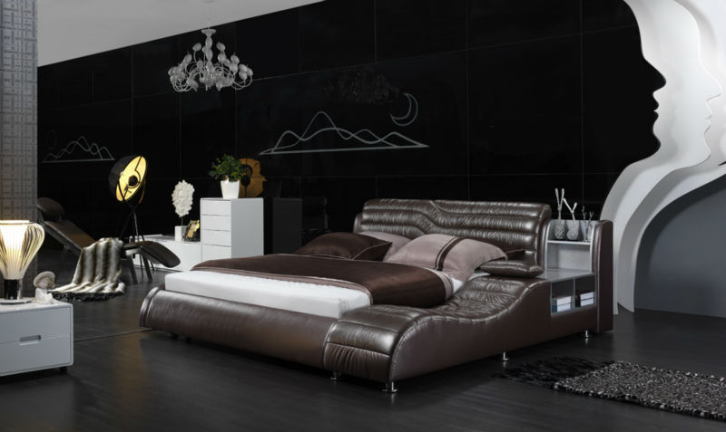 D210 luxury leather bed with bookcase