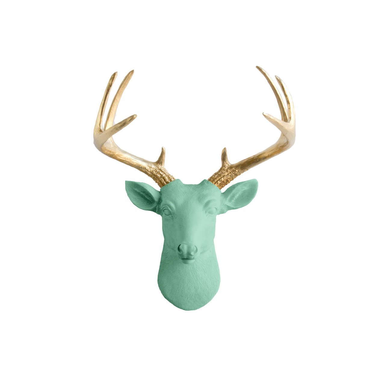 Mini Deer by Wall Charmers | Mint + Gold Antler Faux Head Bust Metallic Green Fake Animal Resin Taxidermy Turquoise Stag Decor Mount Art Buck