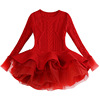 New Design Girl Cable Knit Christmas Long Sleeve Tutu Sweater Top Shirt Dress