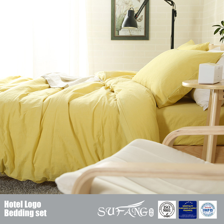 Yellow Color Bedding Set/Washed Cotton Bed Linen/Warm Duvet Cover With Pillows