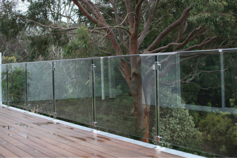 Balcony railing glass panel clamp for frameless glass for Garden decking glass panels