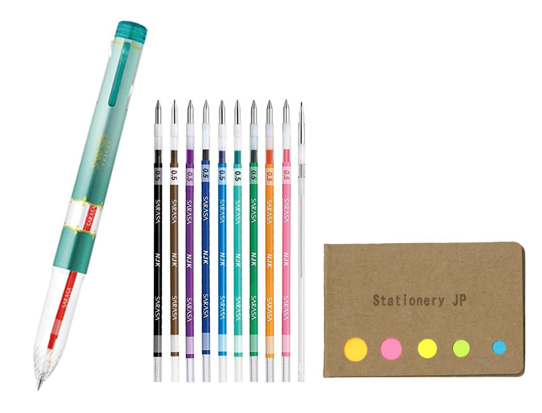 Zebra Sarasa Select 5 Color Multi Pen Body Component, Blue Green Body, 0.5mm 10 Colors Ink, 0.5mm Mechanical Pencil Unit, Sticky Notes Value Set