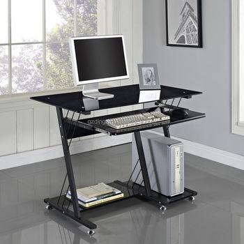 Ergonomic Wood Glass Corner Computer Desk With CPU Holder Friendly  Environment(DX 8812B)