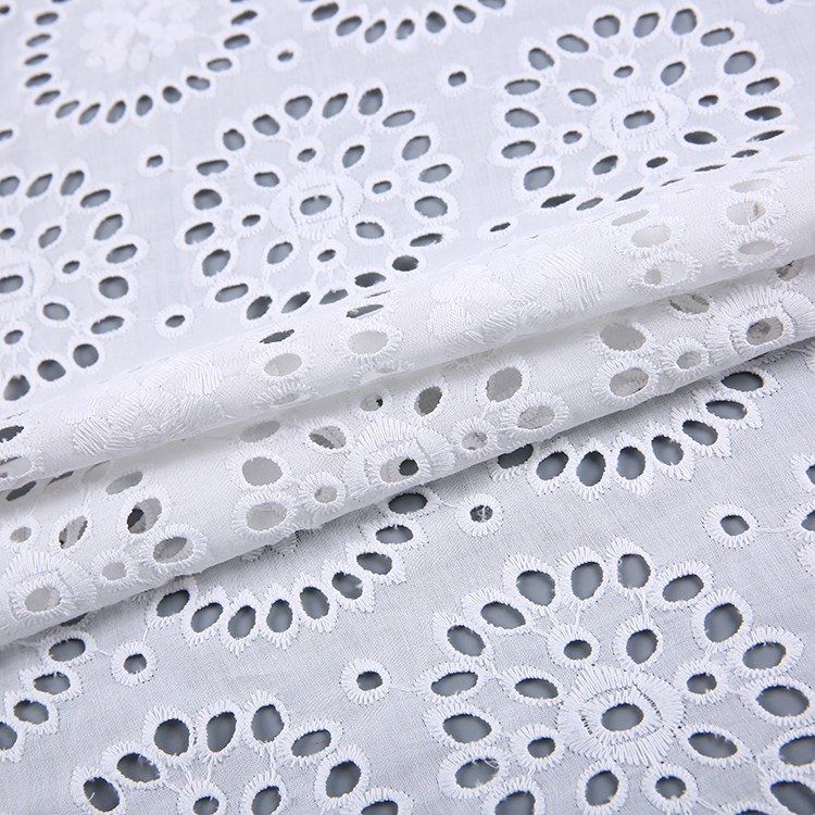 New products fancy combed white voile cotton eyelet embroidered fabric wholesale