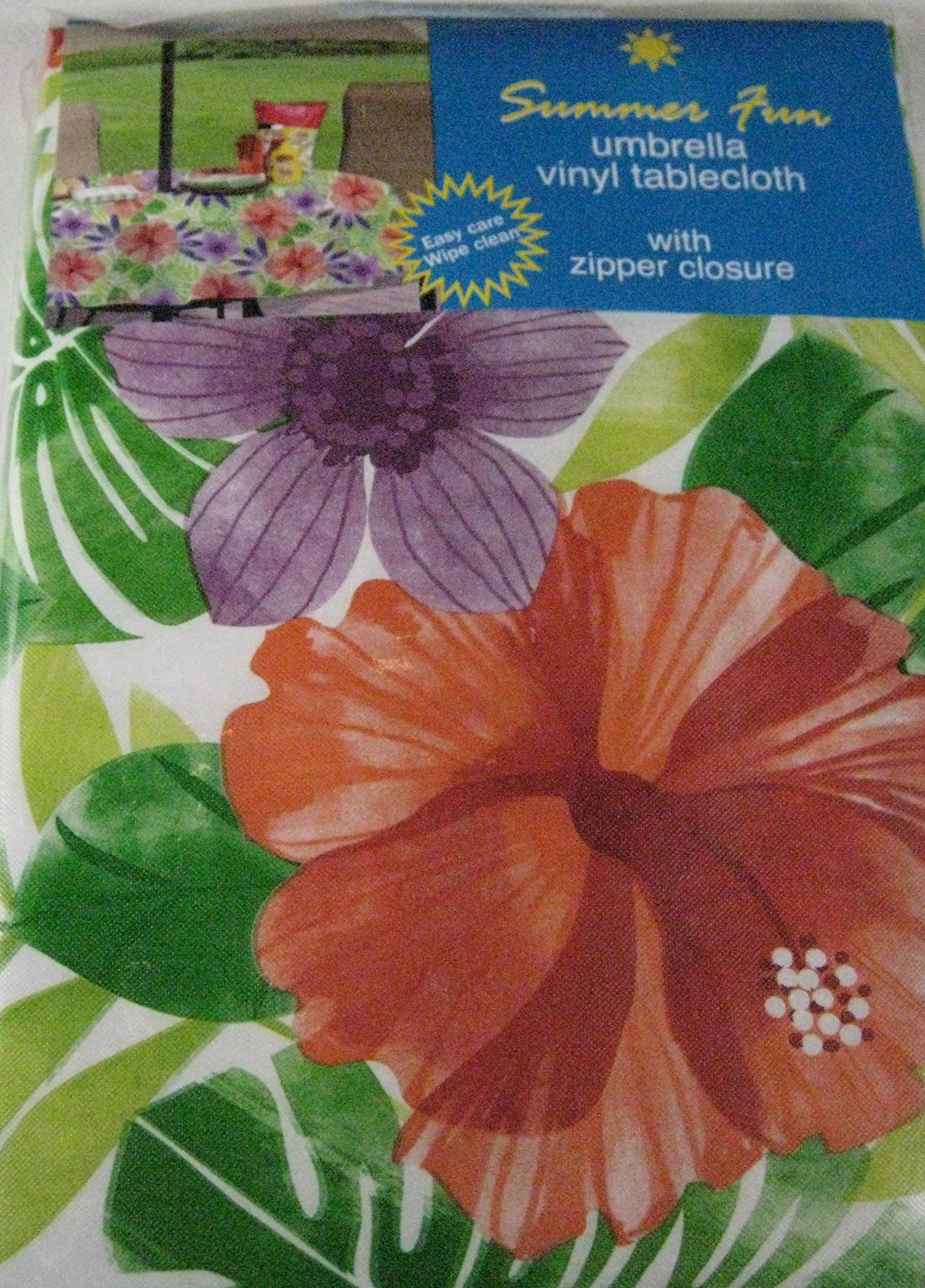 Get Quotations · Summer Fun Flannel Back Vinyl Umbrella Tablecloths With  Hole And Zipper  Tropical Floral Assorted Sizes