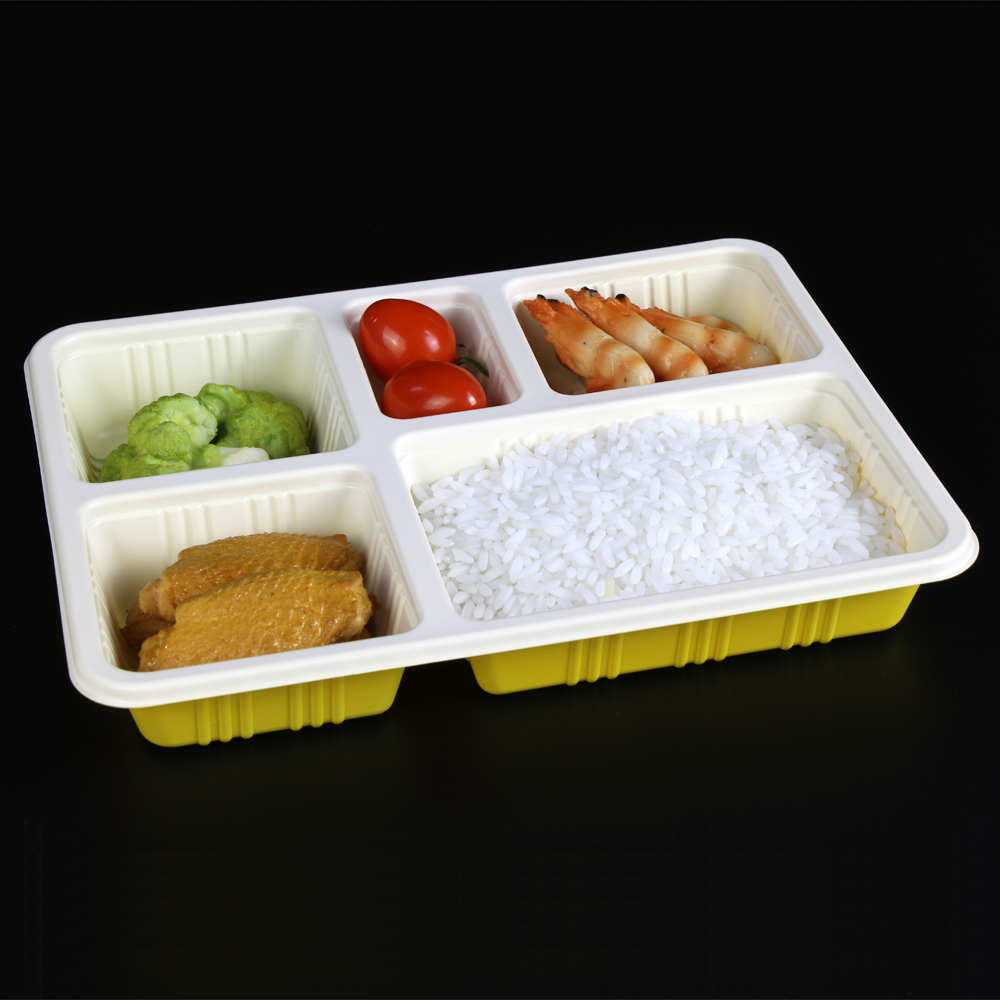 BPA gratis 5 compartiment wegwerp plastic voedsel container met deksel food grade