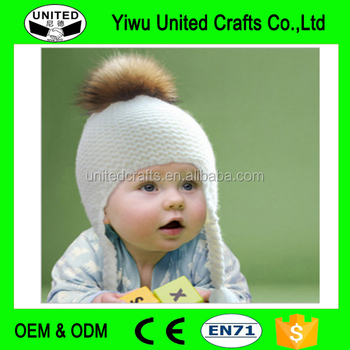 1443fdf3 Children Cute Pigtail Raccoon Fur Pompon Beanie Hat Warm Winter Wool Hat Cap  Knitted Real Fur