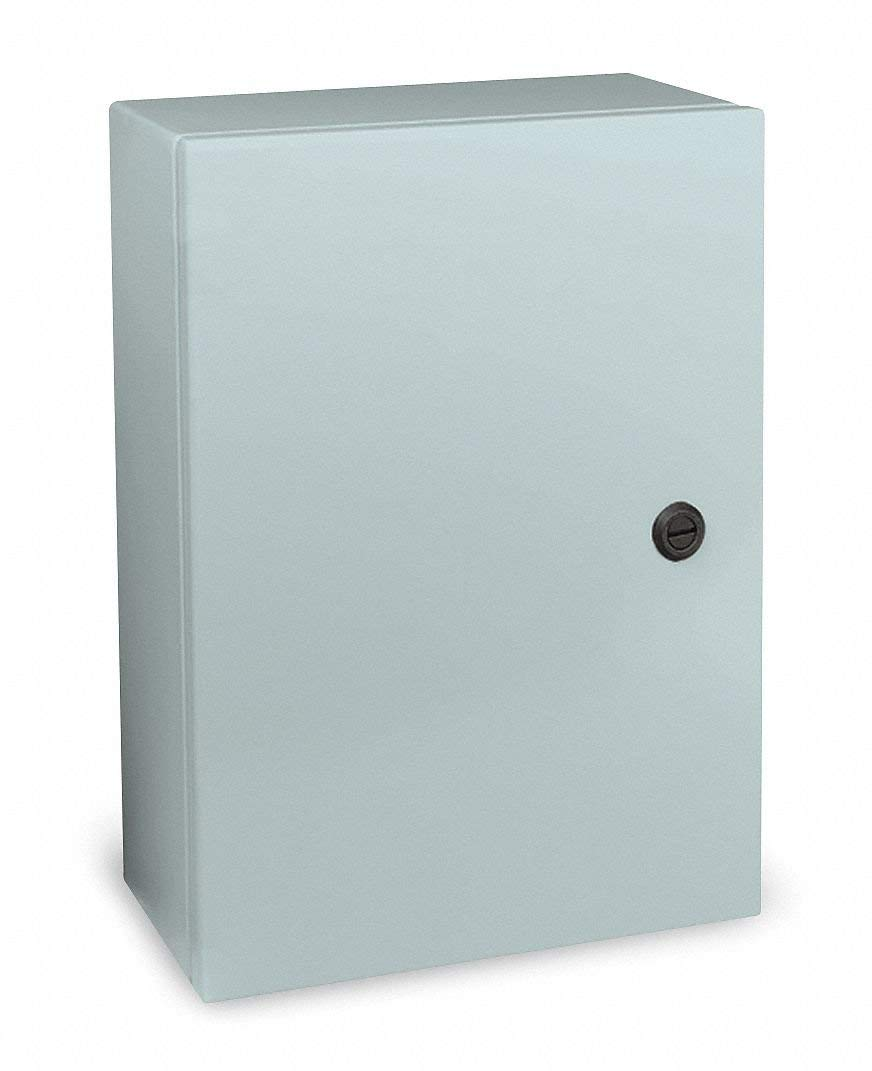 "16""H x 12""W x 6""D Metallic Enclosure, Gray, Knockouts: No, 1/4 Turn Latch Closure Method"