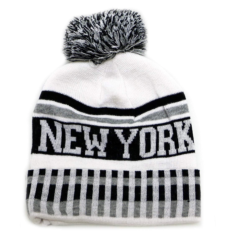 b1bbf53cbd7 Get Quotations · City Hunter Sk1120 New York Vertical Pattern Pom Pom  Beanie Hat - White black