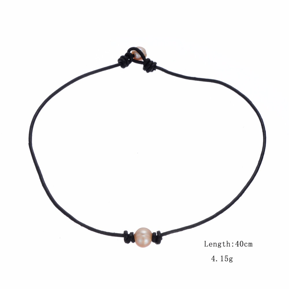 Women Single Pink Pearl Leather Bead Necklace On Genuine ...