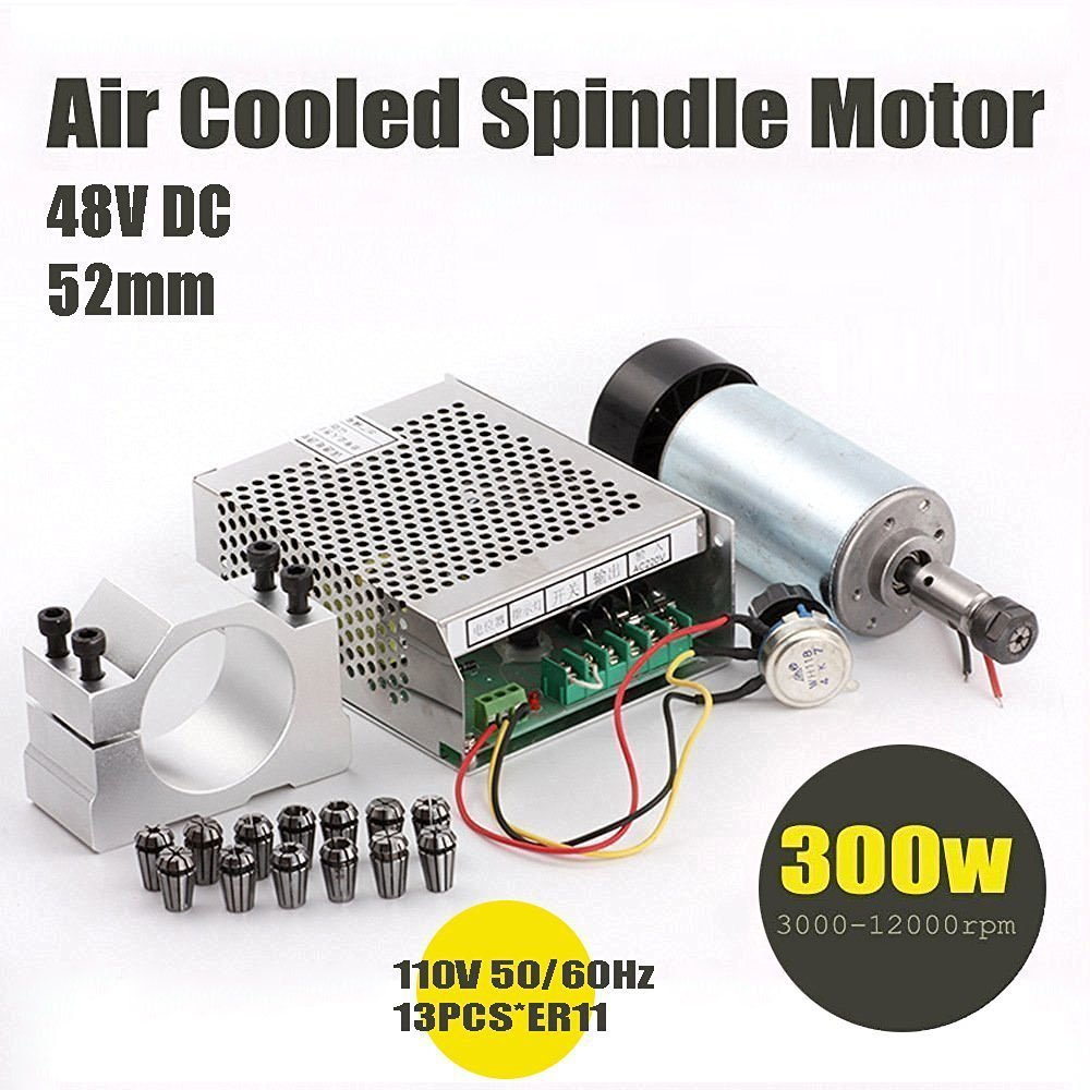 Beauty Star 1Set DIY Mini CNC 300w DC Spindle Motor + 52MM Clamp + 110V Power Converter + 13 PCS ER11 Collect