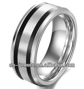 Men black line tungsten ring