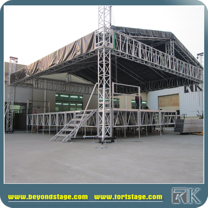 Outdoor concert podium aluminium dak truss met premade for Premade roof trusses