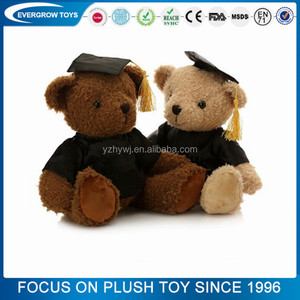 2017 custom plush bear toy graduation teddy bear clothing