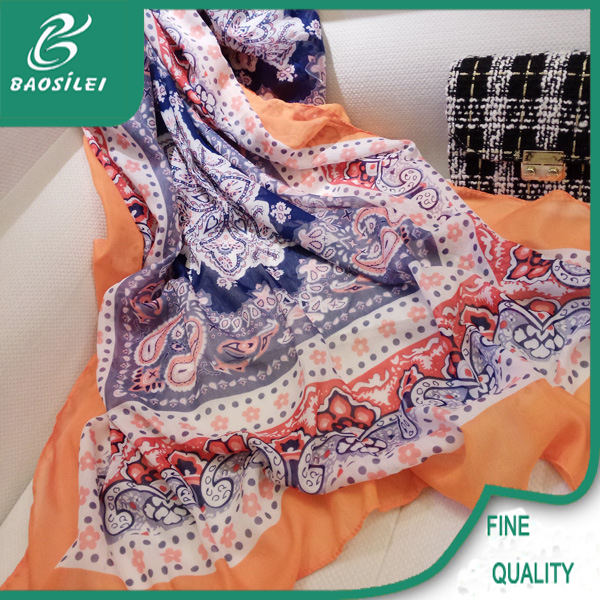 spot supply chinese silk printing and voile pashmina scarf