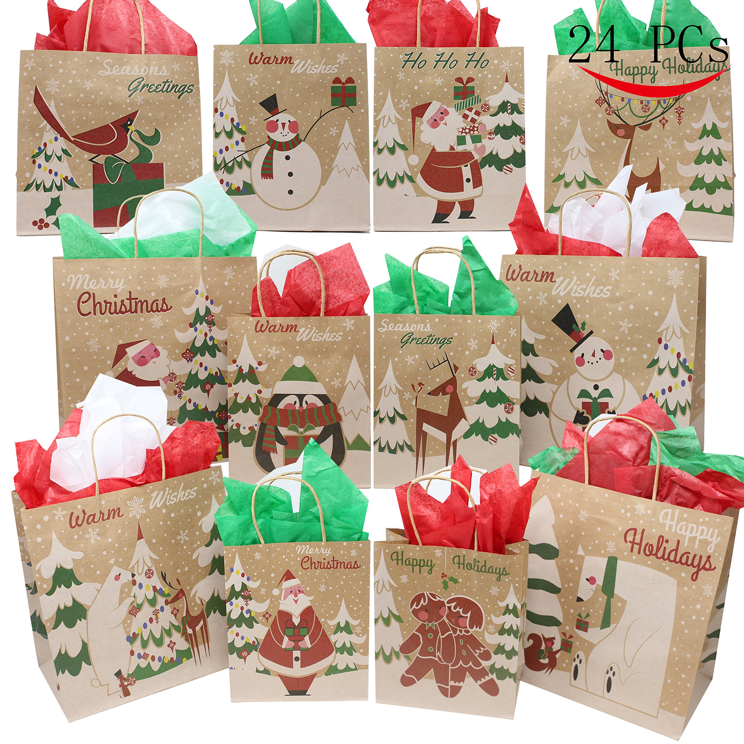 Get Quotations Joyin 24 Christmas Kraft Gift Bags With Assorted Prints For Goody