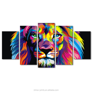 5 Pieces Colorful Lion Animals Abstract Painting Digital Printed Wall Decor Abstract Art Picture For Home Decoration