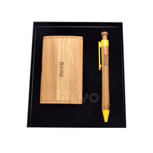 Hand Made promotional giveaways wooden business card holder case gift box set with ballpoint pen