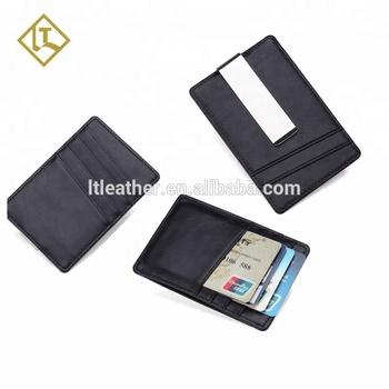 2d0e7bc58f23 RFID blocking full grain genuine leather men cash clip credit card case  holder wallet custom money