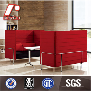 Two Seater Alcove Sofa Fabric Office Sofa Set With Metal Chromed