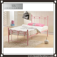 single metal bed frame pink girl style wrought iron bed