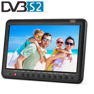 The First model of 12.5 inch Portable Mini TV with Integrated DVB-T2 and DVB-S2 Satellite Modulator Dual Tuner