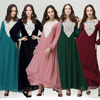 Premium quality cotton fashion muslim wear dress women lace black muslim dress abaya