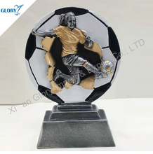 Colorful Resin Shooting Football Trophies for Souvenir