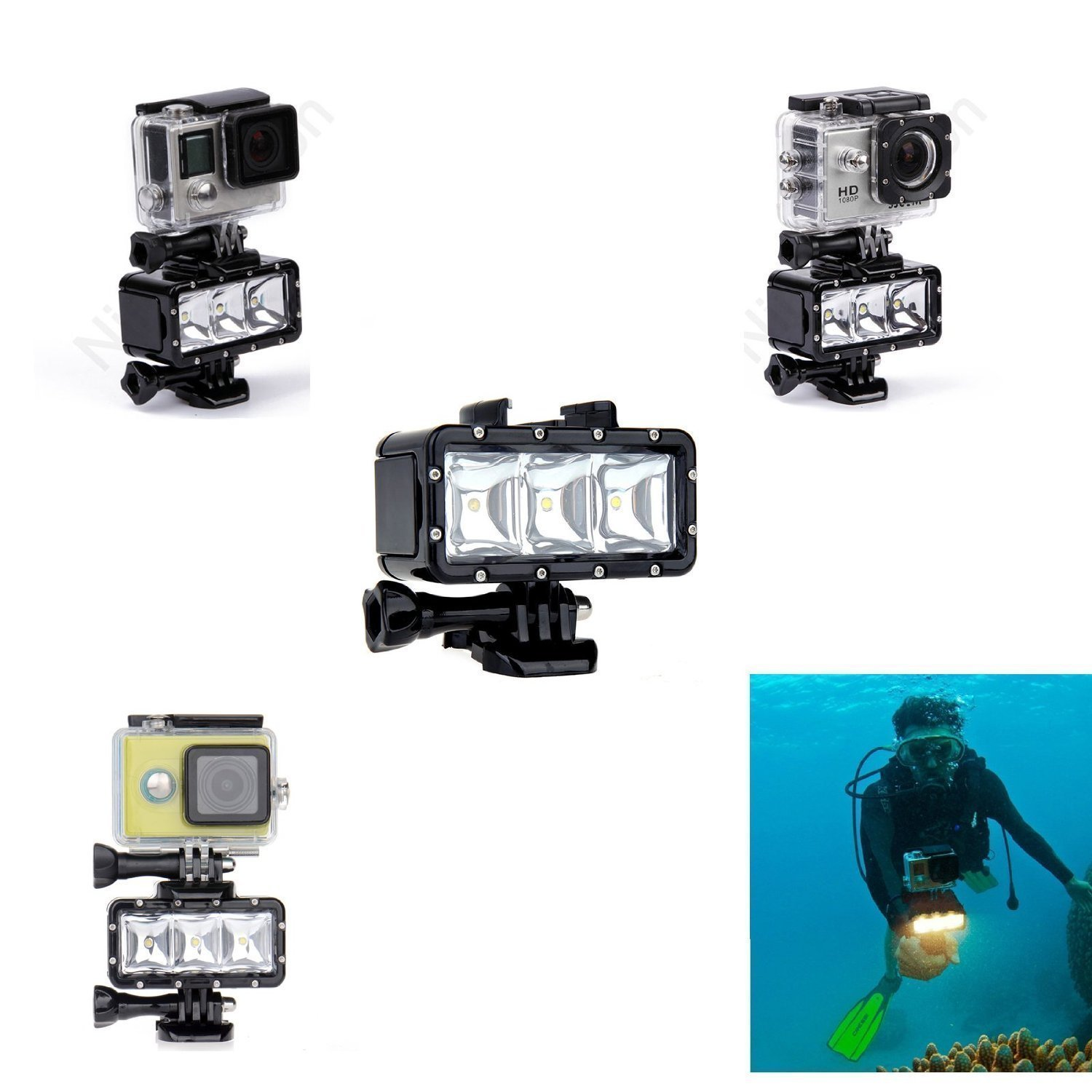 New Waterproof Diving Light High Power Dimmable LED Light Underwater Light For Gopro Hero 5/4/3+/3/2/SJCAM SJ4000/SJ5000/Xiaomi Yi with 1050mAh Built-in Rechargeable Battery Charging
