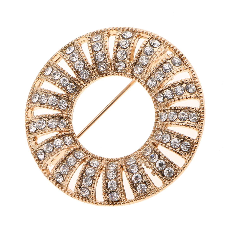 Jili Online Round Women Corsage Crystal Diamante Dress Brooch Wedding Bridal Broach Pins