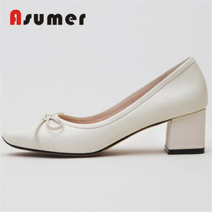 Asumer latest design lady genuine leather bowtie dress shoes
