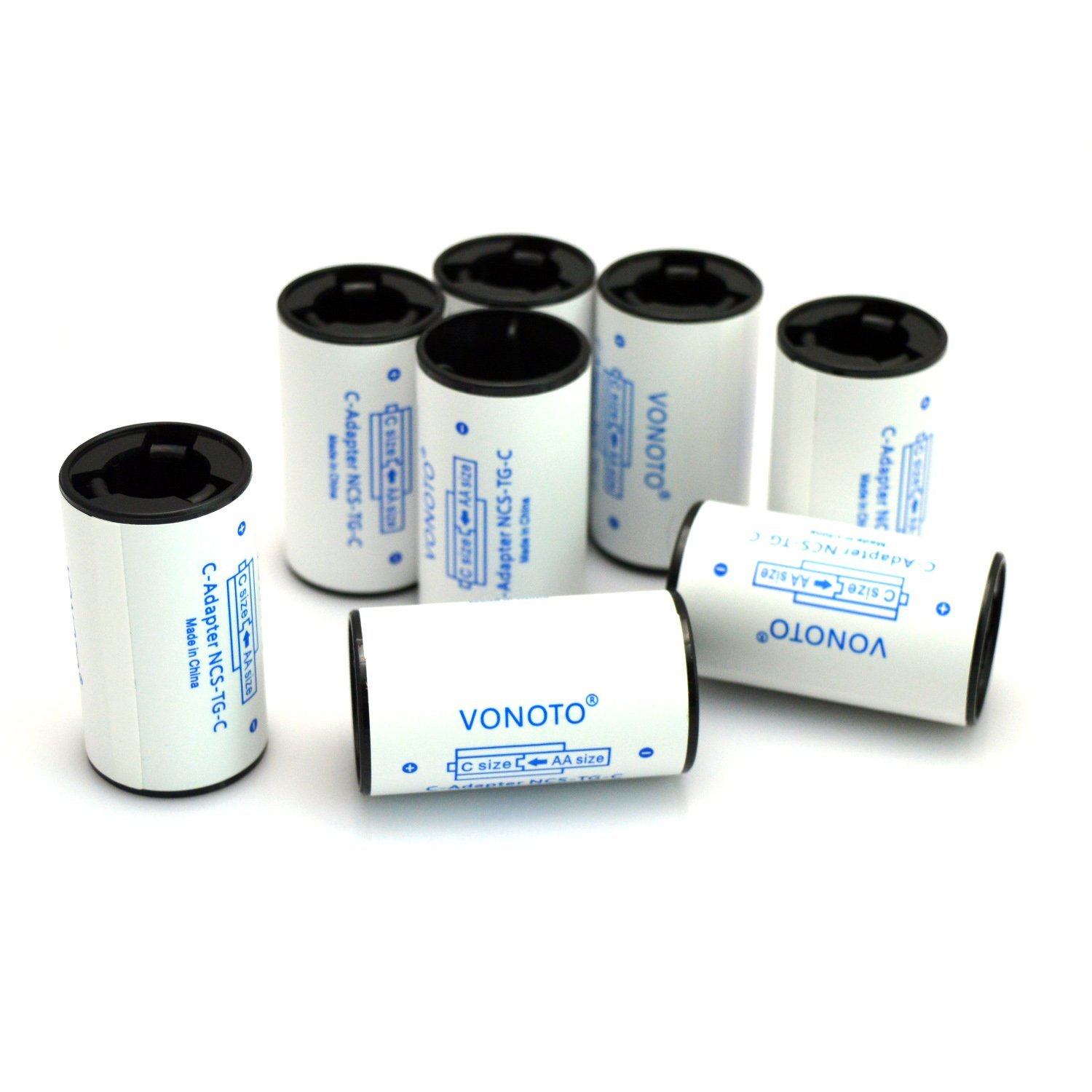 VONOTO 8pcs AA to C Size adapter Rechargeable Battery Adapter Spacers Case (8pcs AA to C)