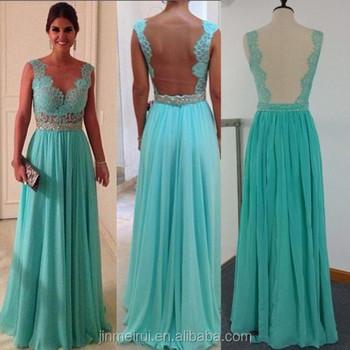 2c3aa4d42 Verde menta vestidos noche largo elegante tapa manga cuello en V pura noche  vestido de cordón