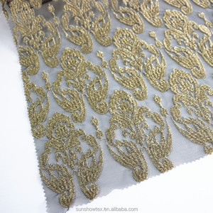 keqiao shiny gold metallic thread chemical lace embroidery fabric with poly korea mesh